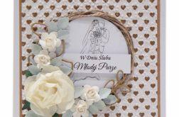 Kartka ślubna z wiankiem i różami - złote serca