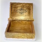 Drewniana szkatułka - książeczka Pamiątka Chrztu Świętego - Decoupage. -
