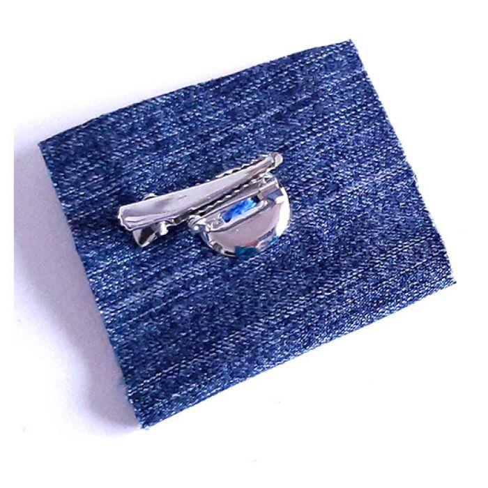 4577 duża jeansowa broszka rękodzieło -