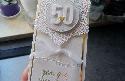 Kartka na rocznicę biało złota PRS 030