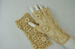 Rękawiczki, mitenki szydełkowe beżowe
