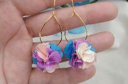 Kolczyki błękitne lawendowe lila ecru ivory