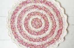 Dywanik bawełniany w kwiatki z falbanką
