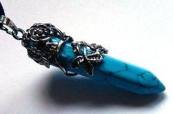 Niebieski turkus i srebro tybetańskie, wisior
