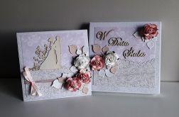Kartka ślubna wraz z pudełkiem kwiaty róż-bie