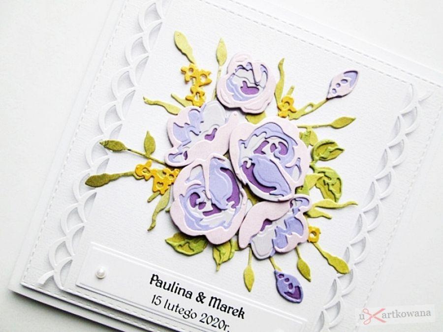 Kartka ŚLUBNA z fioletowymi różami - Kartka na ślub z różami