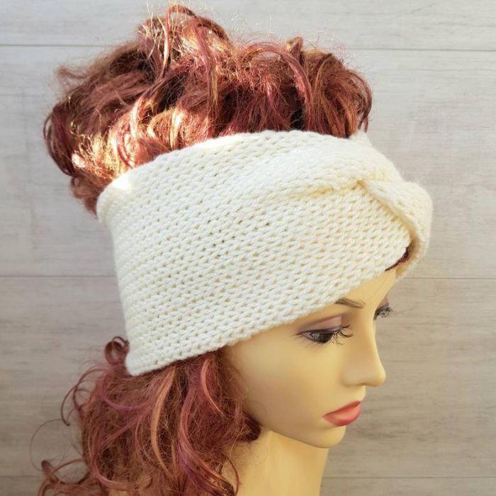Opaska zimowa turban śnieżna biel - gruba opaska
