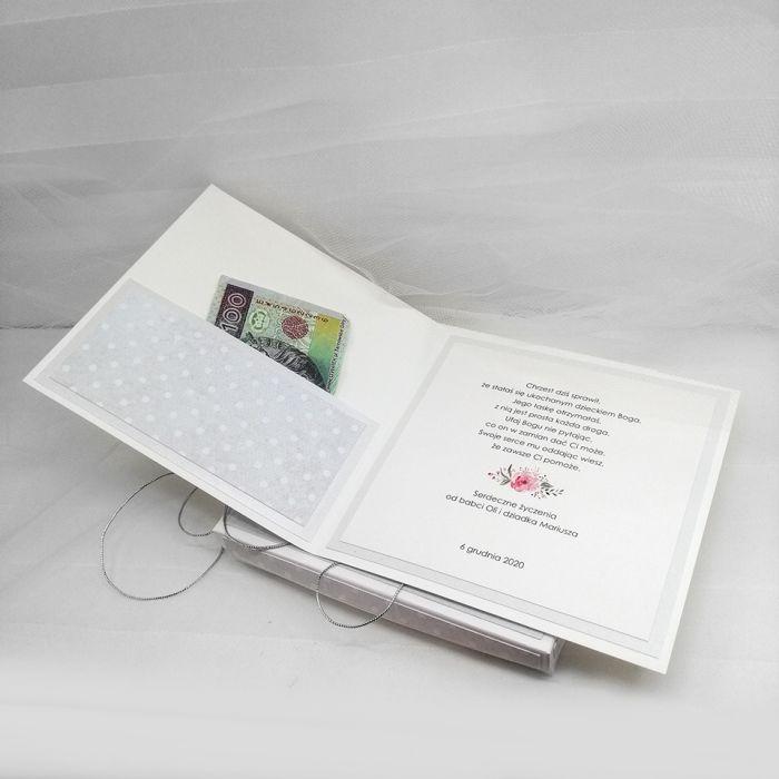 Pamiątka Chrztu kartka w pudełku CHS 035 - kieszonka
