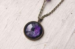 Naszyjnik z malowanym szkłem, kosmos, nebula