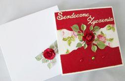 Kartka SERDECZNE ŻYCZENIA z różą