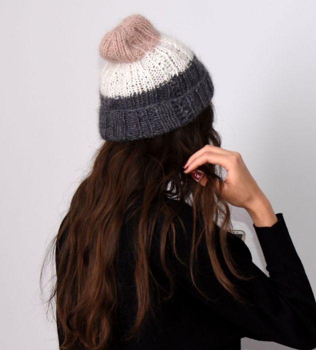lekka czapka z merino szara,różowa,ecru