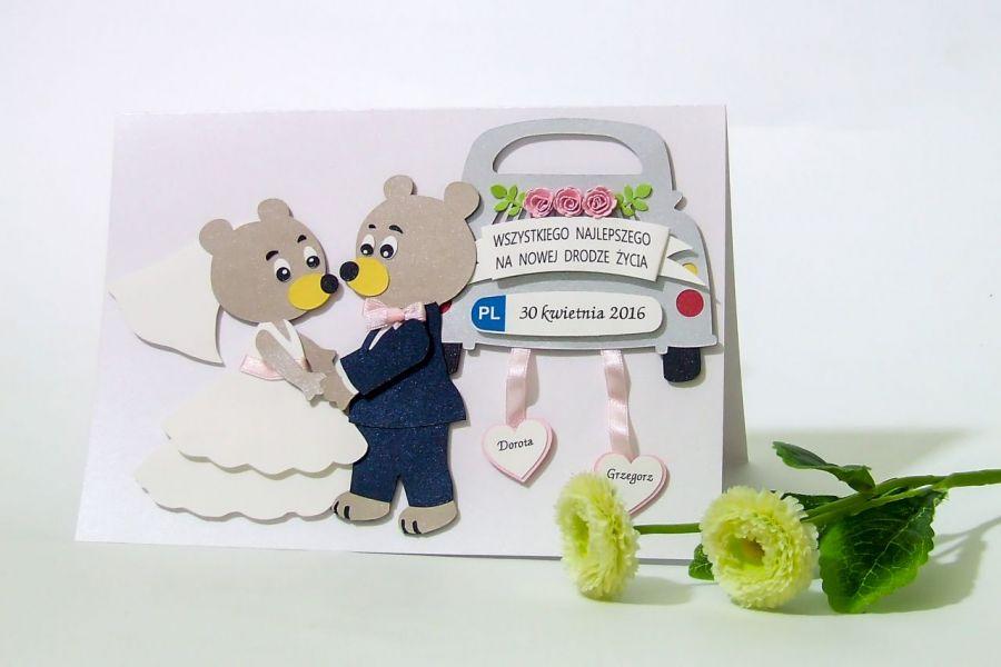 Kartka ślubna z garbusem oraz misiami