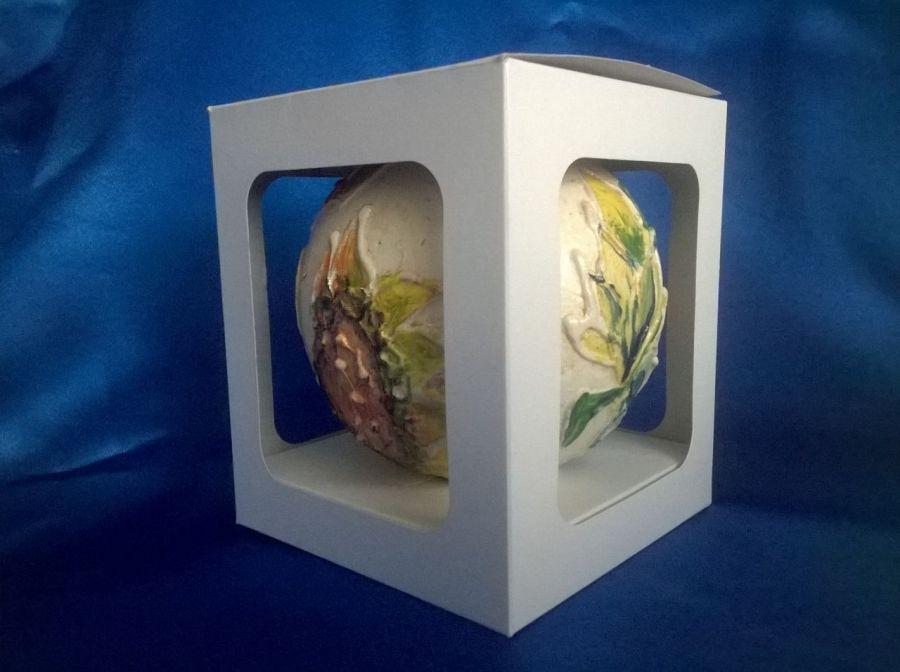 Bombka Złocona Relief Malowane Kwiaty 12 cm