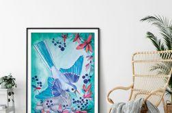BLUEBERRY BIRD wydruk ilustracji