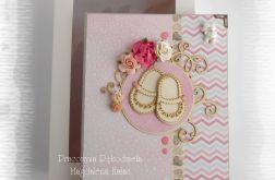 Album w pudełku z bucikami różowo szary