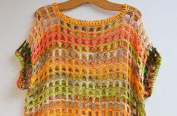 szydełkowa kolorowa bluzka kamizelka