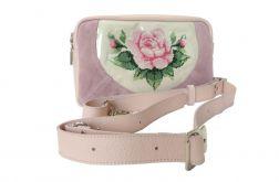 Skórzana torebka-transformer haftem róż