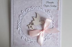 Kartka na Chrzest różowa z gołąbkiem różowa
