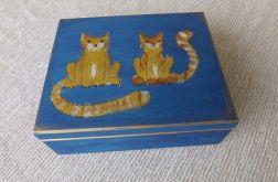 Pudełko malowane duże - Koty w błękicie