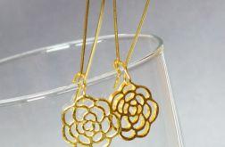 ZŁOTY KWIAT subtelne kolczyki wiszące kolor złoty