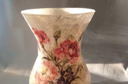 lampion-wazon szklany z goździkami