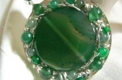 Zielone agaty, wisior, projekt autorski
