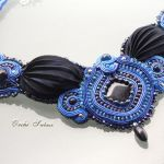 Naszyjnik  SHIBORI silk ribbon-Noc Kairu #3