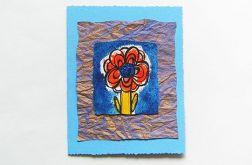 karteczka niebieska-kwiatek