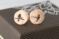 Kolczyki wkrętki ptak - Rose Gold