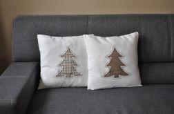 Dwie poszewki dekoracyjne z choinkami - brązowe