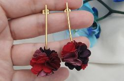 Kolczyki bordowe fioletowe śliwkowe mauve