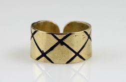 kratka - mosiężny pierścionek 130620-12