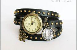 Bransoletka, zegarek - Biała sowa - czarny, nity, skórzany