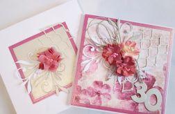 Kartka ROCZNICA ŚLUBU z różowymi kwiatami