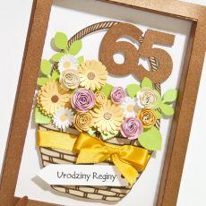 """Kartka obrazek na 65 urodziny """"Kosz kwiatów"""""""