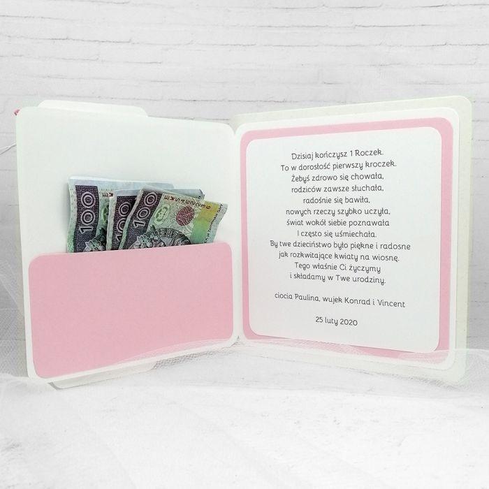 Kartka z Myszką Minnie klamerki UDP 008 - Kartka na Roczek dla dziewczynki z Myszką Minnie (4)