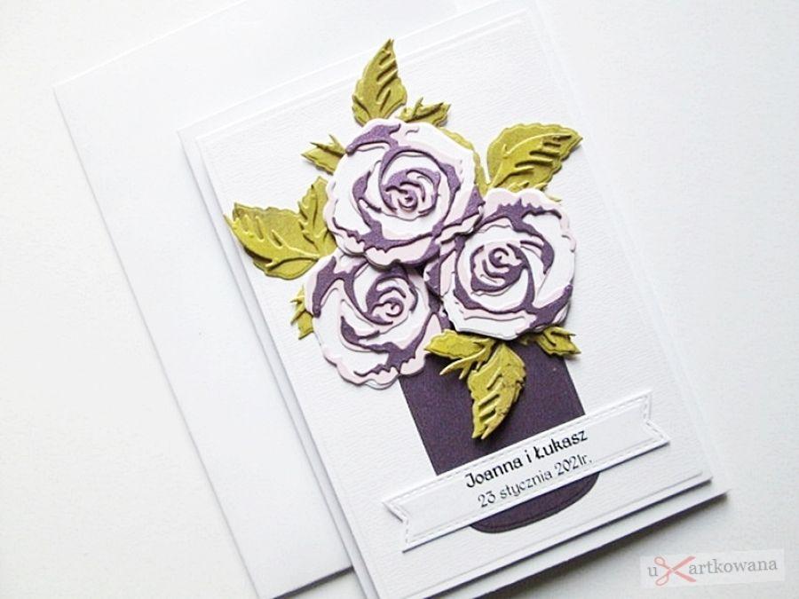 Kartka Ślubna - wazon z różami - Kartka na ślub z różami