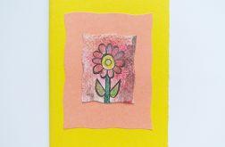 Kartka żółta z kwiatkiem 2