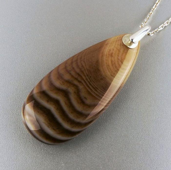 Duży srebrny wisiorek z agatem, Agat, Srebro - wisiorek srebrny z brązowym kamieniem