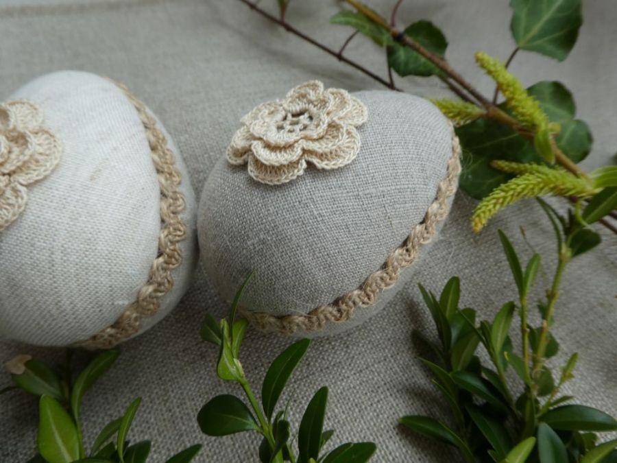 Zestaw lniano-koronkowych pisanek