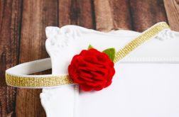 FairyBows opaska kwiatek 3D czerwony ŚWIĘTA
