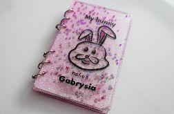 Notes A6 z króliczkiem transparentny różowy