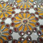 Półmisek dekoracyjny duży pomarańczowo złoty