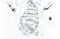 rozmiar L- biała koszulka żagle