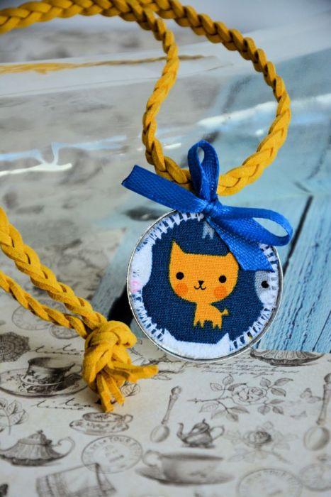Naszyjnik dziecięcy - Rudy kotek - medalion