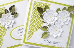 Kartka W DNIU ŚLUBU limonkowo-biała /Z