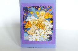 Kartka świąteczna - aniołki w chmurach