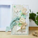 Romantyczna kartka ślubna - miętowa - miętowa