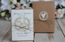 Rustykalna kartka ślubna z pudełkiem 10