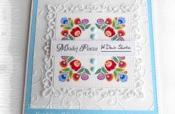 Kartka ślubna folk niebieska
